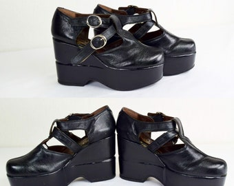 Vintage 1970's Women's Black Buckle Big Platform DiScO Boho Glam HiPPiE Goth Rock n Roll Mary Jane Style Shoes Size 7.5