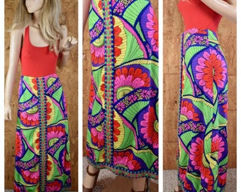 Vintage 1960's The LILLY PULITZER PsYcHeDeLiC Yarn Trimmed MoD HiPPiE Hawaiian Maxi Skirt Size XS / S 24 W