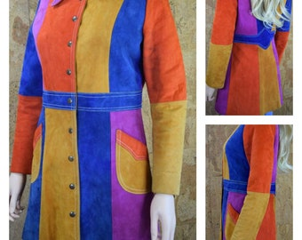 Vintage 1960's | 70's Women's Patchwork Color Blocked Suede Leather HiPPiE MOD Jacket Size S / M
