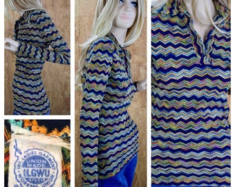 Vintage 1970's Women's Zigzag Chevron Psychedelic Hippie Boho Disco Fitted Knit Shirt Top Blouse Size S M