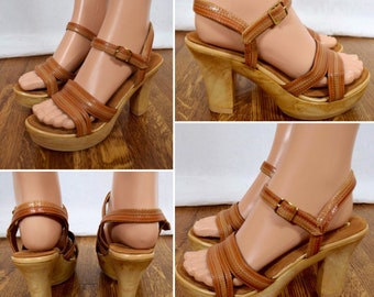 Nos Vintage 1970's Women's SBICCA Woodgrain Brown Leather Disco PLaTfOrM HiPPiE BoHo Shoes Sandals 8 M - Never Worn