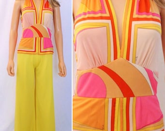 Sale - Vintage 1960's EMILIO PUCCI MoD PsYcHeDeLiC BeLL BoTToM Couture JuMpSuiT Pantsuit XXS Petite - Very Small Size