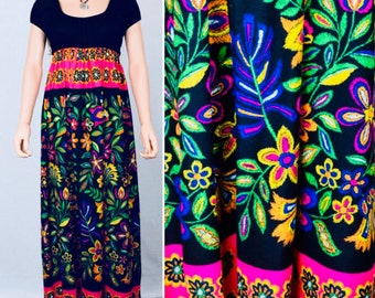 Vintage 1970's PsYcHeDeLiC Young Edwardian Arpeja NEON Flower Hippie Maxi Dress S M
