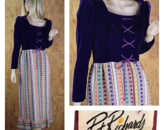 Sale - Vintage 1960's | 70's Pat Richards Velvet Laced Metallic Lame Tapestry Hippie Boho Prairie Maxi Dress S / M