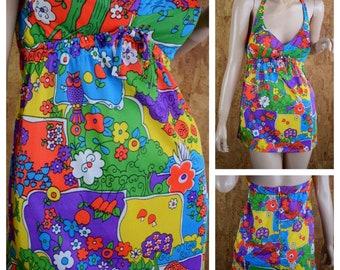 Vintage 1960's | 70's Psychedelic Sears Jr. Bazaar Neon Mushroom Flower Tree Giraffe Owl Hippie Mod Tankini Bikini 2 Piece Swimsuit Size S M