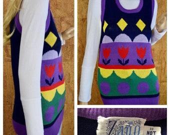 Vintage 1970's ZADO Women's MOD Pop Art Colorful Tulip Knit Hippie Sweater Vest Size M