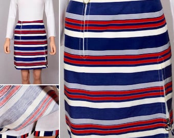 Vintage 1960's Women's MOD David Smith Tennis culotte Red White Blue Striped Zippered Skort Short Mini Skirt S