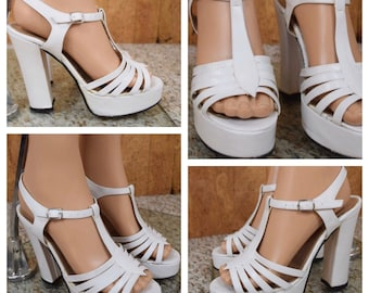 Sz 7.5 Vintage 1970's GALLIANO ITALY Women's White Leather Disco Hippie Huge Platform Sandals Shoes Size 7 1/2
