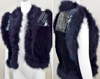 Vintage 1970's 80's Glam Shiny Silver Sequins Maribou Feather Trim Velvet Vest Waistcoat Rocker Cropped Disco Queen S M costume