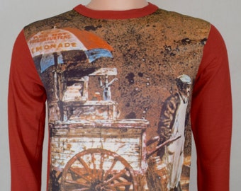 Vintage 1970's Men's GROOOVE Hot Dog Cart Novelty Photo Print HiPPiE HiPsTeR Shirt S