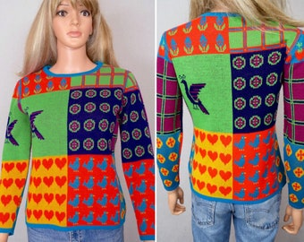 Vintage 1970's Women's Color Blocked Patchwork POP ART Heart Strawberry Peacock Flower Plaid Bird Hippie Sweater Size S