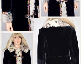 Vintage 1960's Rainbow Embroidered Trimmed Faux Shearling Fur PENNY LANE Almost Famous Coat Size M