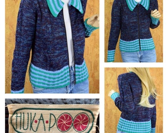 Vintage 1970's Women's Huk-a-poo Kitch Striped Space Dyed Cropped Cable Knit Zippered Cardigan Sweater Size L