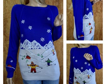 Vintage 1970's Women's CYN LES - Shirlee Design Embroidered Chenille Alpine Skiers Snowflake Mountain NOVELTY Ski Sweater Size L - Nos
