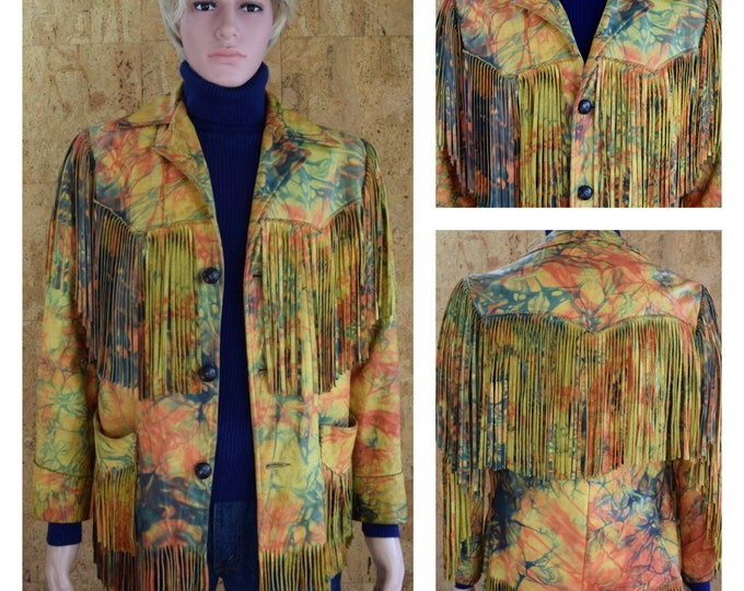 Featured listing image: Vintage 1970's Psychedelic Tie Dyed Leather ROCK STAR Rich Hippie Hendrix Fringed Jacket Western Biker Men's Size S