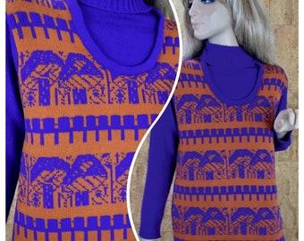 Vintage 1970's Women's Miss Holly Mod MUSHROOM  Novelty Purple & Orange Hippie Knit Sweater Size M