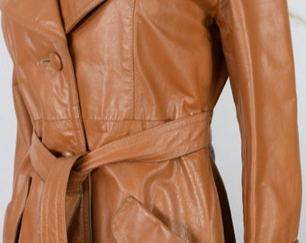 Vintage 1970's Women's LONG Brown Leather DiScO HiPPiE HiPsTeR Lined Coat Jacket M