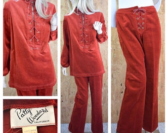 Vintage 1960's | 70's 2 Pc. Patty Woodward  Velvet Velour Hippie Laced Shirt & Laced Flared Pants Hippie Boho Outfit Size M