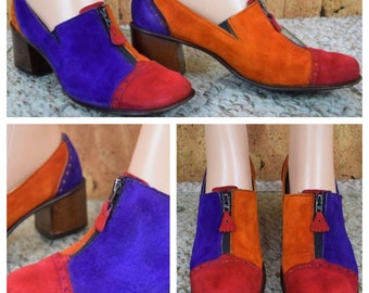 Sz 8 - Vintage 1960's MOD Color Blocked Patchwork Suede Leather Hippie Go-Go Zippered Shoes Size 8 / 8