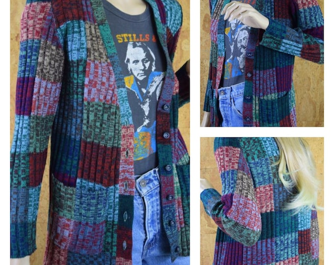 Featured listing image: Vintage 1970's Women's Colorful Space Dyed PATCHWORK Cardigan Hippie Boho Sweater Size M