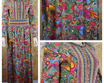 Vintage 1960's GOLDWORM Italy Couture Mexican Bird Floral Aztec Patterned MERINO Wool Knit Sweater Maxi Dress Size S / M