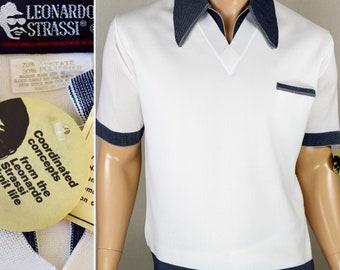 NOS Vintage 1960's Leonardo Strassi Knit Targa Pattern V Neck Collar ULtrA MOD Mad SpAce aGe AtOmiC Men's Shirt Size 44 45 L