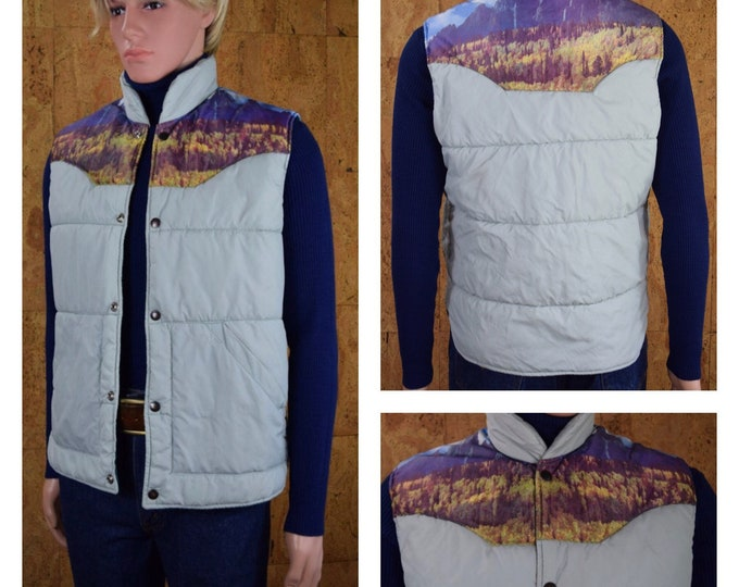 Featured listing image: Vintage 1970's Men's Western Mountain Photo Print Yoked Hippie Hipster Puffer Ski Vest Size M