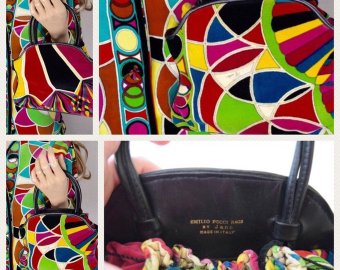 Featured listing image: Vintage 1960's EMILIO PUCCI Jana VeLvEt Stained Glass PsYcHeDeLiC MoD Handbag Purse
