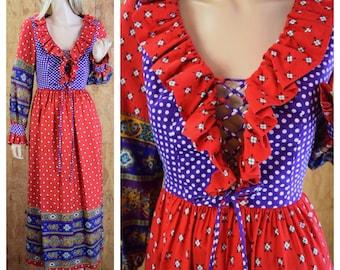 Vintage 1970's Charm of Hollywood Women's Polka Dot Peasant Laced Prairie HiPPiE GYPSY Boho Festival Dress Size M