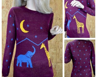 SOLD - RESERVED FOR C. - Vintage 1970's Women's Star Moon Elephant Giraffe Sweater Size S / M