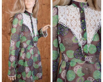 Vintage 1960's 70's Dollyrockers Women's Lace Psychedelic Edwardian MOD Hippie Boho Chic England Carnaby Street Mini Dress Size S