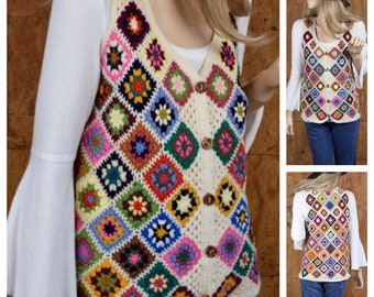 Vintage 1970's Women's HiPPiE BoHo Granny Square Maskit Crocheted Woodstock Colorful Knit Wool Sweater Vest Size S M