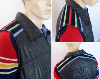 Vintage Men's XL 1970's ALPINE SKI Colorful Striped Puffer Vest HiPPiE HiPsTeR Snowboard