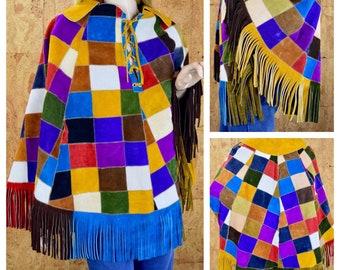 Vintage 1970's Women's Colorful Rainbow PATCHWORK Fringed Suede Leather HiPPiE BoHo WooDsToCk Jacket CAPE Poncho Coat