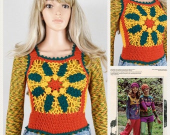 Vintage 1970's HiPPiE BoHo Crocheted Color Blocked Rasta Bob Marley Colors Woodstock FLoWeR Sweater Vest Size XS