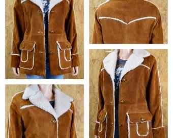 Vintage 1970's Women's Cognac Brown Suede Faux Shearling Rancher Western Hippie Boho Coat Jacket Size M 14