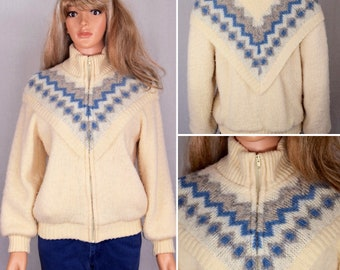 Vintage 1980's Women's ICEMART Aztec Native Nordic Scandinavian HiPPiE Boho HiPsTeR Oversized WOOL Sweater Jacket Coat Size S