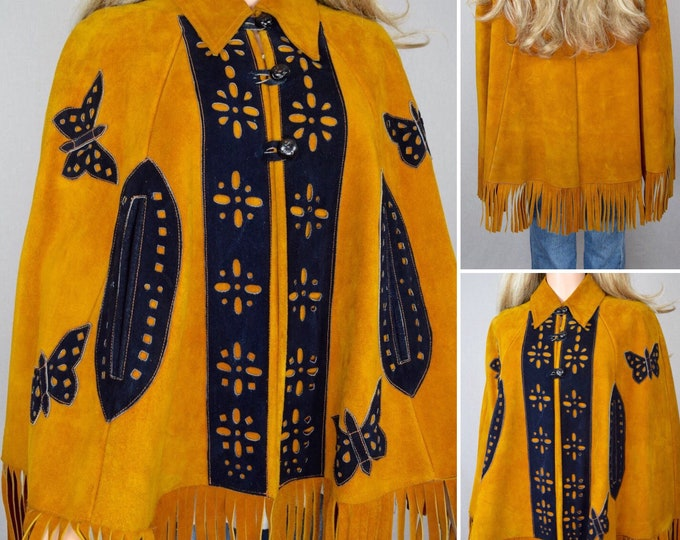 Featured listing image: Vintage 1970's Women's Butterfly Suede Leather HiPPiE BoHo WooDsToCk Jacket CAPE Poncho Coat