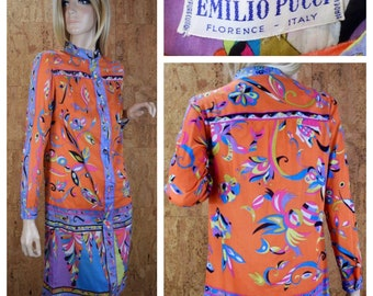Vintage 1960's EMILIO PUCCI Psychedelic Hippie Mod Cotton Dress S