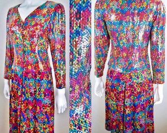 Vintage 1980's Haute Couture ~ Hanae Mori Silk Multi Color Snakeskin Print with Clear Sequins Evening Cocktail Party Abstract Op ART Dress S