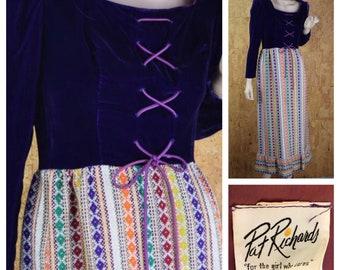 Vintage 1960's | 70's Pat Richards Velvet Laced Metallic Lame Tapestry Hippie Boho Prairie Maxi Dress S / M