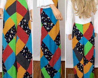 Vintage 1960's / 70's Women's COUTURE Wide Leg High Waisted Rainbow Patchwork Hippie Boho Pants M  27 x 31
