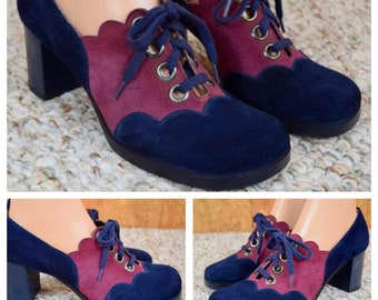SOLD - Reserved to L. - Sz 8 / 8.5 NOS Vintage 1960's | 70's Two Toned Color Blocked Suede Leather Scalloped MOD Laced Hippie Go-Go Shoes