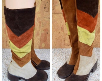 Vintage 1970's Women's Chevron Striped Multi-colored Patchwork Suede Leather Knee High MOD Hippie Boots Made in Italy Size 6.5 6 1/2