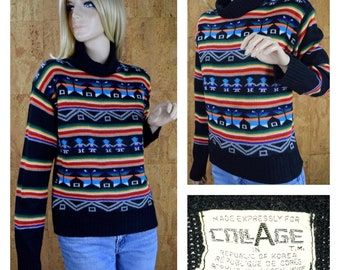 Vintage 1970's Women's COLLAGE Rainbow Striped Snowflake Fair Isle Novelty People Nordic Knit Ski Sweater Size M