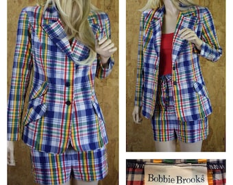 Vintage 1970's Women's BOBBIE BROOKS 2 Piece Rainbow Plaid Seersucker Shorts & Jacket Set Summer Suit Size S