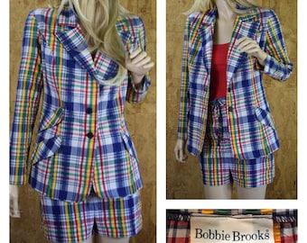Vintage 1970's Women's BOBBIE BROOKS 2 Piece Rainbow Plaid Seersucker Shorts & Jacket Set Summer Suit Size S