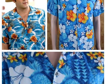 Vintage 1950's | 60's Men's Royal Hawaiian Loop Collar Pineapple Hibiscus Beach Tropical Surfer Shirt Size XL 48