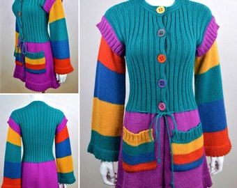 Vintage 1970's Women's Offspring by Trisha Sayad CoLoR bloCk KniT MoHair HiPPiE RaiNboW Bright FuN WooL CarDiGaN Sweater size M