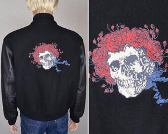 SALE - Vintage 1990's Men's Grateful Dead Embroidered Varsity Leather & Wool Stanley Mouse Jacket Size M